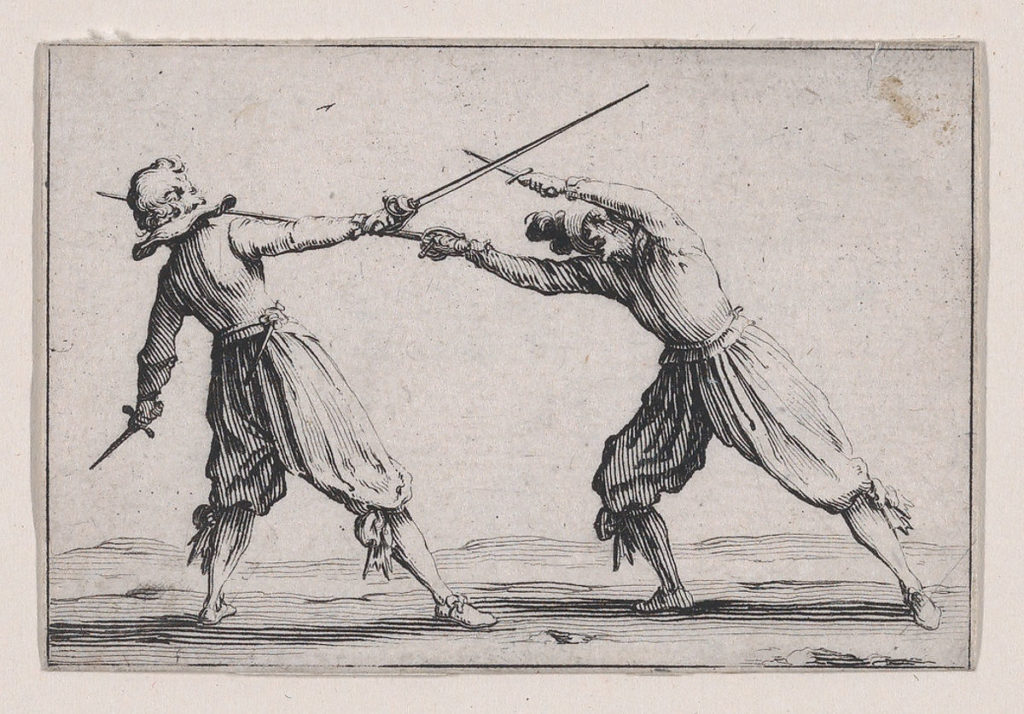 A depiction of two people duelling with sword and dagger.