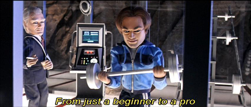 "Team America montage scene sub-titled ""From just a beginner to a pro."""