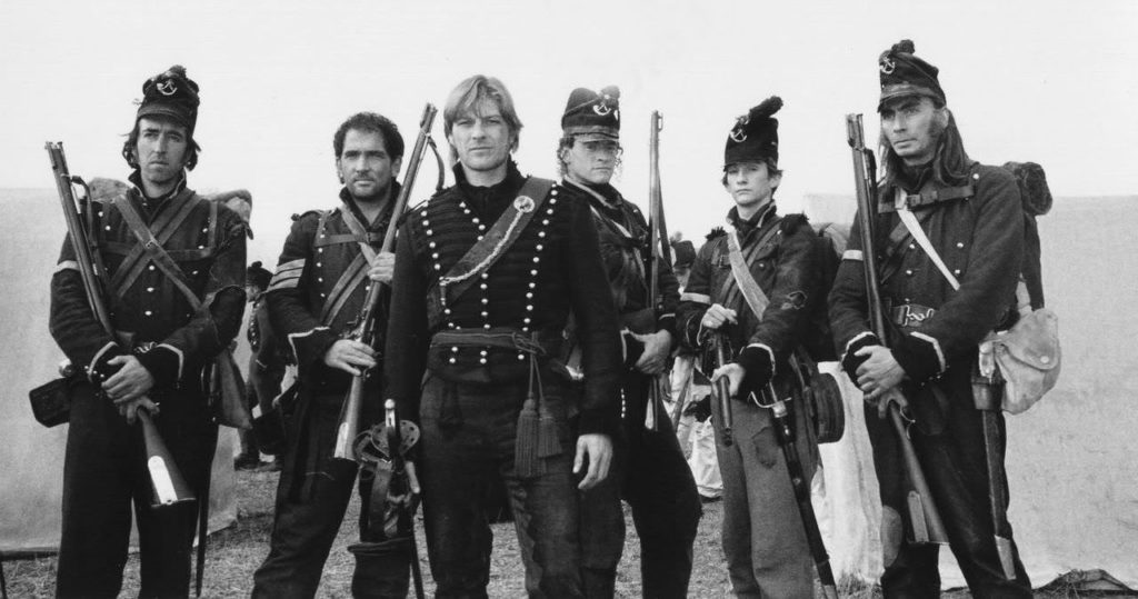 Sharpe TV Series, six soldiers lined up.