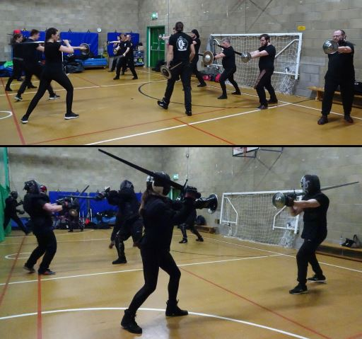 Members of the Academy of Steel participating in sword and buckler exercises.