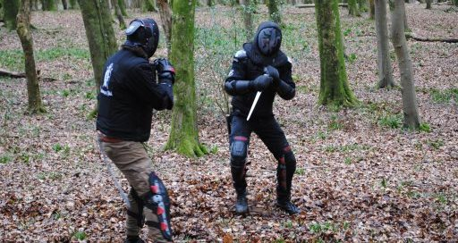 Two combatants fighting with daggers in the forest.