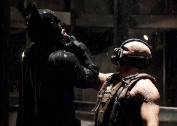 Bane choking Batman