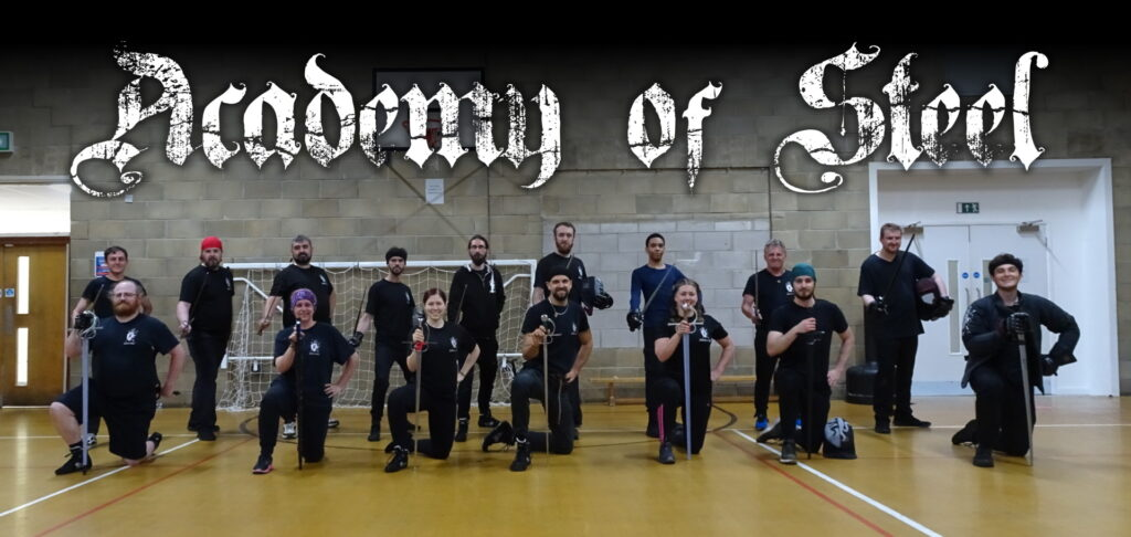 Members of the Academy of Steel lined up with sideswords.